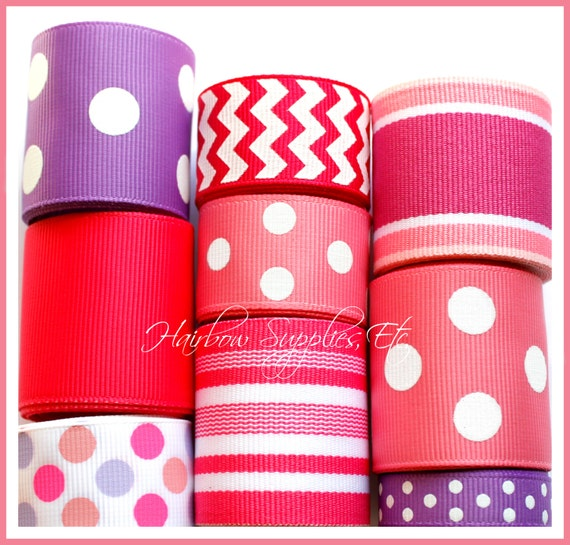 Mauve, Pink, and Purple 9 yard Ribbon Lot - Hairbow Supplies, Etc.