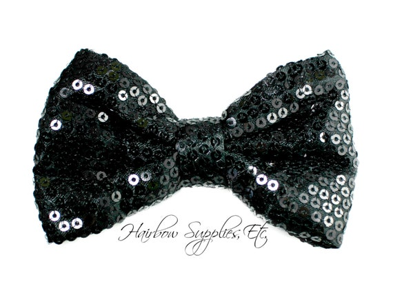 Black Sequin Basic Bow 4 inch - Black Bow, Black Hair Bow, Black Bow Tie, Black Bow Baby, Black Glitter Bow - Hairbow Supplies, Etc.