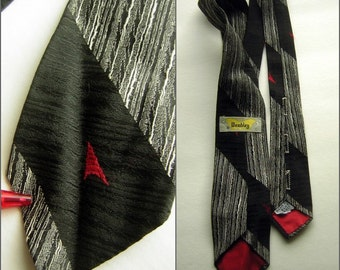 Wembley Neck Tie Vintage 50s 60s Black & Red with Rear Buttonholes - Mad Men Gift Idea for Him