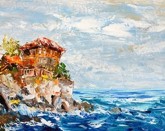 ORIGINAL Oil Painting on canvas Seascape painting Palette Knife painting impasto colorful painting modern style home decor art Art Marchella