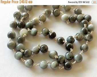 51% ON SALE Cats Eye Plain Round Balls Beads in 925 Silver Wire Wrapped Rosary Style Chain Emerald Beaded Chain, By Foot