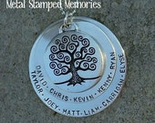FAMILY TREE NECKLACE  Hand stamped with up to 12 Names of Children and Grandchildren