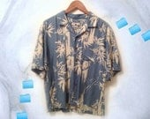 90s Vaporwave Blue Men's Bamboo Botanical Print Rayon Unisex Short Sleeve Summer Shirt size Medium