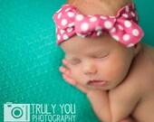 Knotted Headband - Hot Pink Polka Dots - Infant Headband Jersey Headband Organic Headband Organic Baby Headband Baby Headwrap Knot Headband