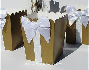 Gold & White, Party Favors, Glitter Popcorn Boxes, With Bow, Elegant, Christmas Holiday Party, Wedding Decor, Dessert Bar Supply, Set of 12