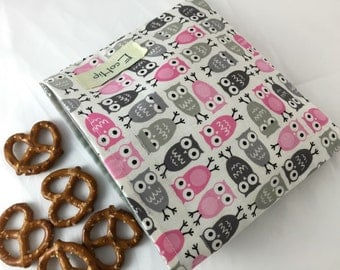 Reusable Snack Bag - Reusable Baggie - Owl Snack Bag - Fabric Snack Bag - Reusable Fabric Snack Bag -  Little Owls Grey and Pink