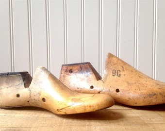Vintage Wooden Shoe Forms Set Of Two