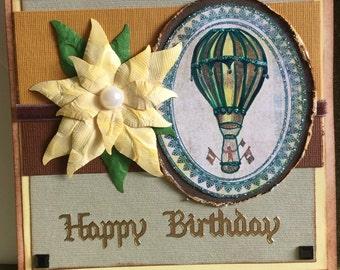 birthday card fancy hot air balloon and handmade flower