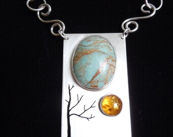 SILVER PENDANT with two bezeled STONES - Turquoise and Amber Tree Scape Necklace