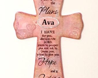 Personalized Cross - Jeremiah 29:11 - Wood - Art - Custom