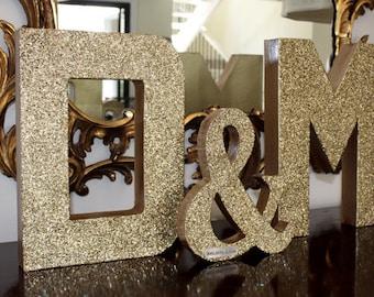 Glitter Wedding Letter Set -Large- with Ampersand, Wedding Decor - Initials - Custom - Personalized