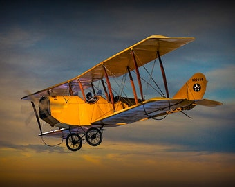 Vintage Yellow Biplane with Sunset Cloudy Sky No.3818 A Fine Art Classic Aviation Photographic Image
