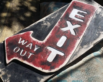 """Distressed Vintage looking Wooden Exit sign, Colorful Routed and Painted Street Sign, measure: approx. 5-1/4 X 10-1/2""""  (Made to Order)"""