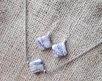 Purple Sugilite Silver Earring & Necklace Set - Jewellery Gift Set