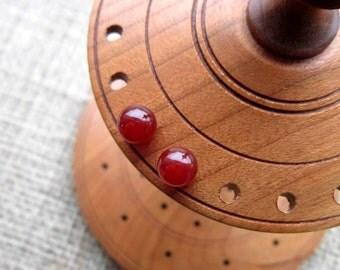 Carnelian Sterling silver stud earrings - studs 6mm orange red ball posts August birthstone
