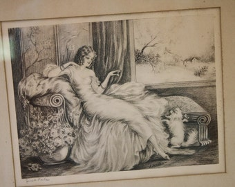 Art Deco Lithograph Print J Dorval Just Pals Female Chaise Lounge Fluffy Dog