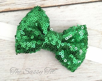 Green Sequin Bow Headband, Sparkle Bow Headband, St Patricks Day, Green Bow Headband, St Pattys Day, Baby Headbands, Newborn Girls