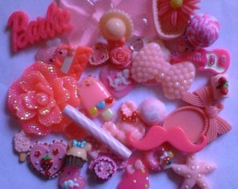 Kawaii decoden deco diy pink bow cabochon mix   # 29  more than 30 pcs---USA seller