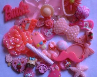 Kawaii decoden deco diy pink bow cabochon mix   # 29  more than 30 pcs---USA seller