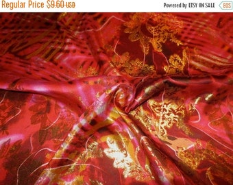 ON SALE REMNANT--Fuchsia Black and Metallic Gold Abstract/Floral Printed Jacquard Silk Fabric--34 Inches