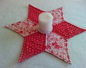 Valentine Star Candle Mat - Table topper - Kitchen Table Decor - Machine Quilted - Reversible - Valentine Hearts