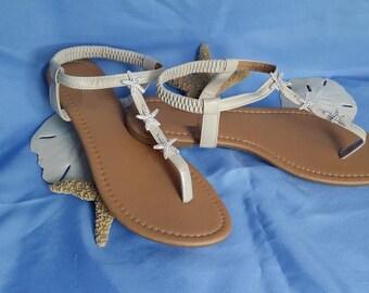 Ivory Wedding Sandals Sparkling Rhinestone Starfish Destination Wedding Sandals Beach Wedding Sandals Beach Wedding Shoes Vegan Sandals