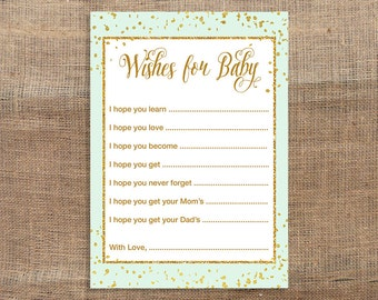 Mint Green Wishes For Baby Cards, Mint Green and Gold Glitter Confetti Baby Shower Activity, DIY Printable, INSTANT DOWNLOAD