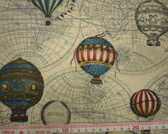 "The global hot-air balloon carnival worldwide - 1 yard - cotton linen - 2 colors ,Check out with code ""5YEAR"" to save 20% off"