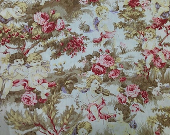 "Angel and roses  - fairy tale, 1 yard - cotton, patchwork, Check out with code ""5YEAR"" to save 20% off"