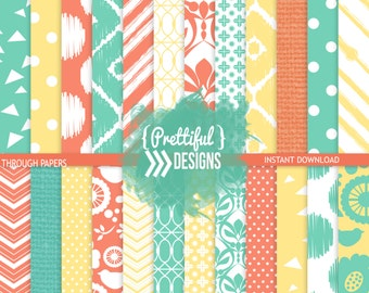 Seafoam, Coral, Yellow Commercial Use Digital Paper Ikat Bird Flower Chevron Background  - Breaking Through