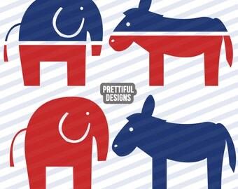 Republican Elephant Democratic Donkey Clip art Political Presidential Clipart