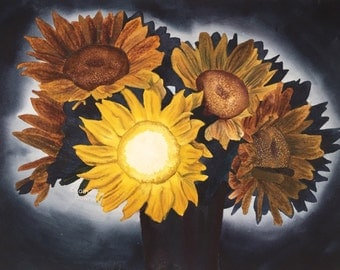 Original Watercolor Painting Sunflowers at Night