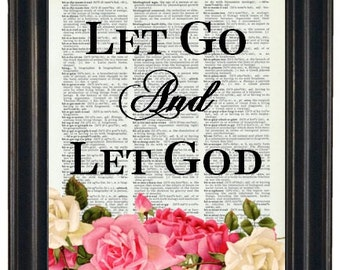 BOGO SALE Let Go and Let God Dictionary Art Book Page A HHP Original Quote Prints Sayings Wall Art