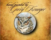 Hand painted miniature button - Great Horned  Owl  1