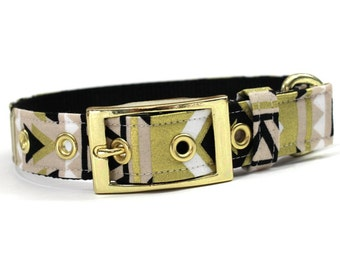 Dog Collar with Metal Buckle- Gold, Tan, White and Black Tribal Print