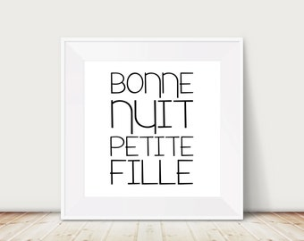 Custom Colors | Bonne Nuit Petite Fille | Nursery Art | Wall Art | Subway Art | Nursery Decor | 4x4 | 6x6 | 8x8 | 10x10