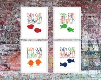 Even Little Fish Remember... | Bathroom Rules | Bathroom Art | Wall Art | Subway Art | Home Decor | 5x7 | 8x10 | 11x14