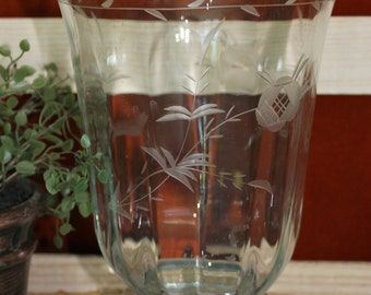 Wide Mouth Etched Glass Vase