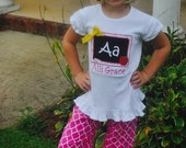 Girls back to school outfit, chalkboard apple, first day of school shirt by Gigi Babies