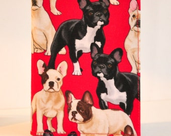 Passport Cover Passport Holder Sleeve French Bulldog white and black dogs on red Cute puppies
