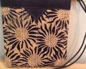 Black and Ecru Sunflowers Quilted Batik Fabric Snap Bag Purse Handbag Handmade
