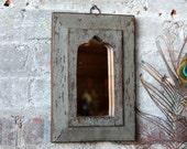Mirror Reclaimed Vintage Indian Door Panel Wall Hanging Art Distressed Jodhpur Gray Blue Color Mirror Moroccan Decor Turkish