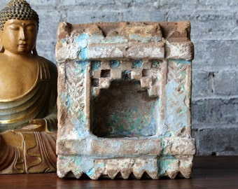19th Century Hindu Home Shrine Traditional Indian House Niche Small Altar Votive Candle Holder Small Limestone Temple Garden Decor Blue