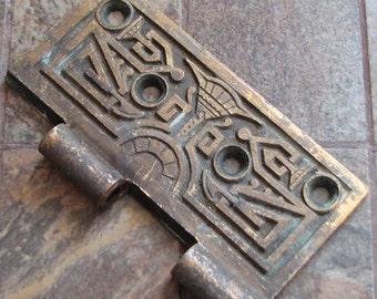 Antique Vintage Heavy Brass Hinge Half Piece Arts and Crafts No. 2 of 2 Altered Art Assemblage Craft Restoration Supply