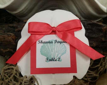 Beach Wedding Large Arrowhead Sand Dollar Table Assignements/ Escort Cards/Favors Gift w Guest Name Table Number, Satin Ribbon, Colored Card