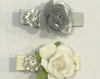 Ivory and Gray Flower Clips