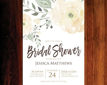 Fall Bridal Shower invitations, floral Bridal shower, roses Bridal shower - set of 15