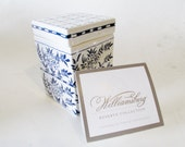 Williamsburg Blue and White Porcelain Box, Holland, Delftware Chinoiserie Design