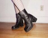 90s black leather platform goth boots size 39/40
