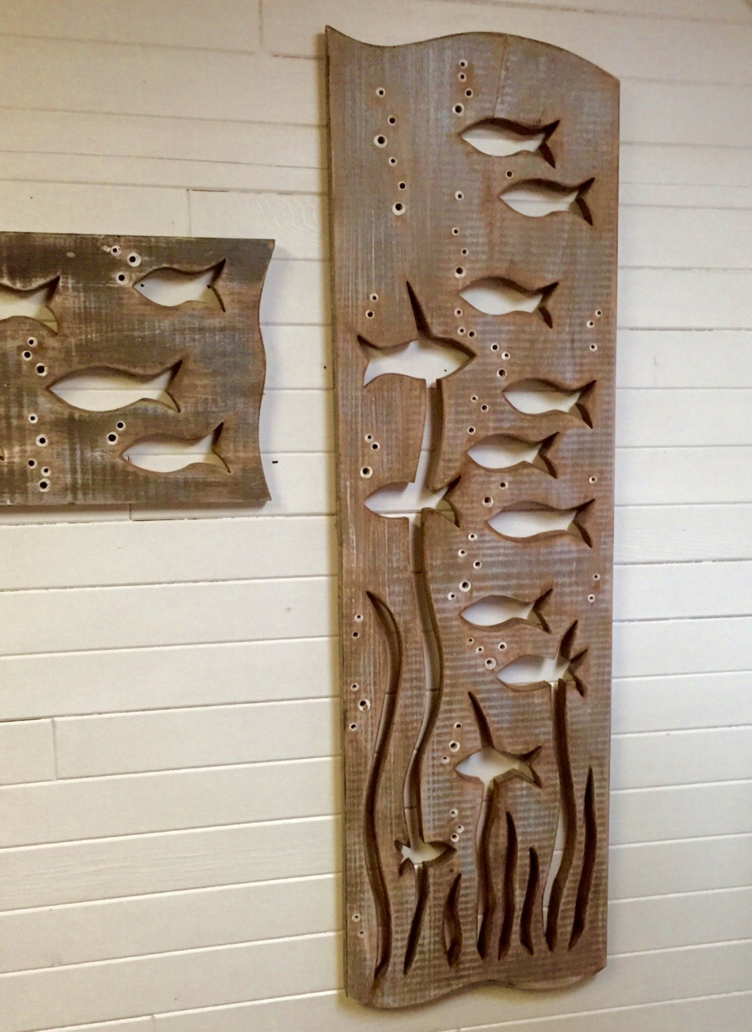School of Fish Wood Art Sign Panel Vertical Large Driftwood